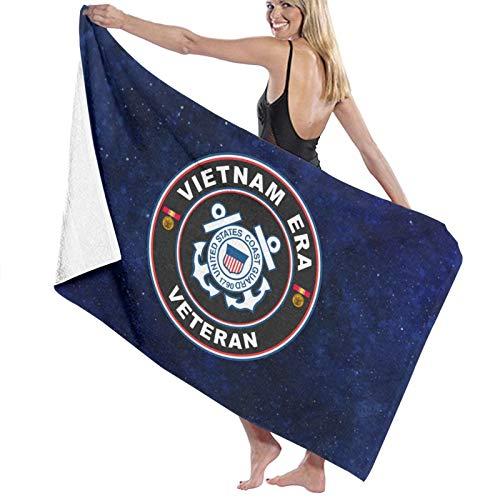URANDM Us Coast Guard Vietnam Veteran Microfiber Beach Towel (52 X 32) -Highly Absorbent, Quick Dry Lightweight Towels Blanket for Sports Travel Pool Swimming Beach Gym Bath