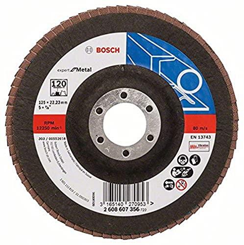 Bosch Professional Fächerschleifscheibe (für Winkelschleifer verschiedene Materialien, gerade Ausführung, Ø 125 mm, Körnung 120)