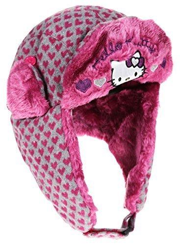 Bonnet Chapka maille et fourrure enfant fille Hello kitty 3 coloris de 3 à 9ans (52 (3-6 ans), Bordeaux/gris)