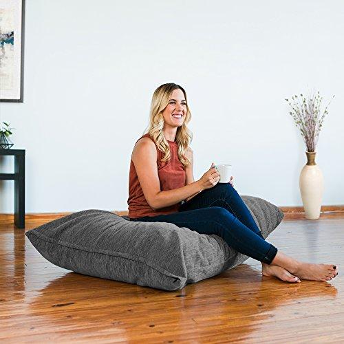 Jaxx Saxx 3.5 Foot Giant Décor Floor Pillow, Premium Chenille, Grey