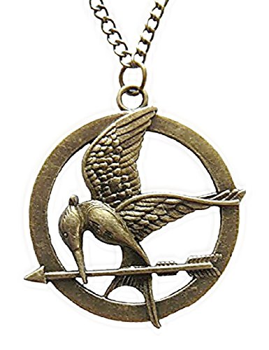 ♚ The Hunger Games Mocking Jay - Halskette Farbe Bronzezeit Gravuren auf Mockingjay Detail