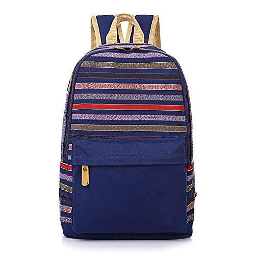 Qearly GarçOns Filles Unisexe Toile Sac à Dos Backpack pour Ordinateur Portable Sac Sac d'école Sac-Stripe bleu
