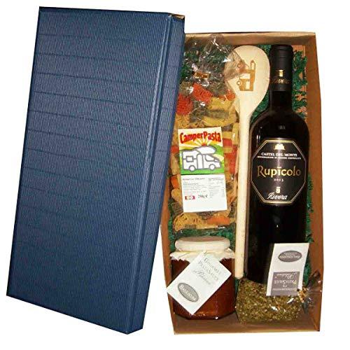 Geschenkset Wohnmobil 6-teilig // Geschenk Wohnmobil mit Nudeln, Wein, Pastacauce, Gewürze Holzlöffel