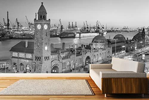 Vlies Tapete XXL Poster Fototapete Hamburg Hafen Nacht Farbe schwarz weiß, Größe 200 x 100 cm selbstklebend