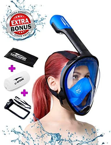 Usnork Full Face Snorkel Mask for Kids and Adults Snorkel Set with 4 Bonus Items Anti Fog and product image