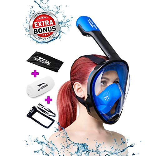 Full Face Snorkel Mask for Kids and Adults - Snorkel Set with 4 Bonus Items - Anti-Fog and Anti-Leak Easybreath Snorkeling Gear - Dive Scuba Mask with 180 Panoramic View (2020 Blue Kids, X-Small)