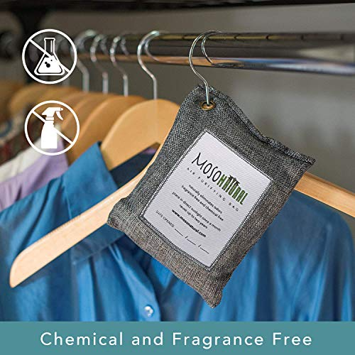 MOSO NATURAL: The Original Air Purifying Bag 200g (3 Pack) for Cars, Closets, Bathrooms, Pet Areas. an Unscented, Chemical-Free Odor Eliminator (Charcoal)