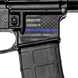 GunSkins Magwell Skin - Premium Vinyl Decal - Easy to Install and Fits AR-15 Lower Receivers - 100% Waterproof Non-Reflective Matte Finish - Made in USA - GS Thin Blue Line