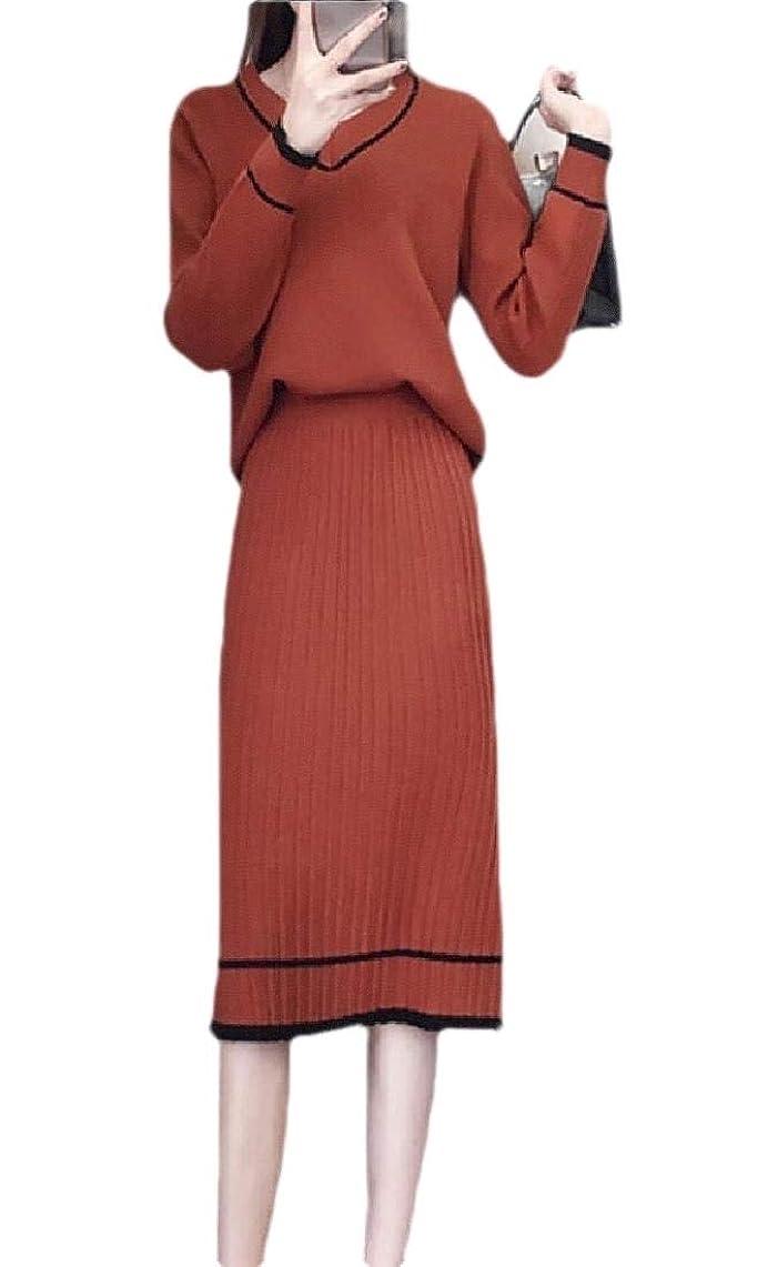 カジュアルアラバマ矢印Women's Sexy V Neck Long Sleeve 2 Piece Outfit Sweater Midi Skirt Set