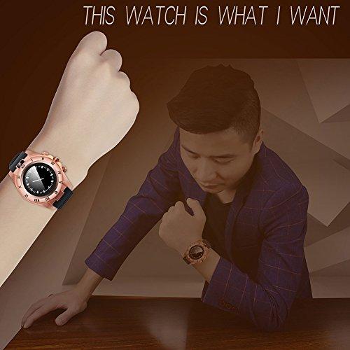 chebao, Reloj inteligente, resistente al agua con monitor de sueño, S5 Circular SIM Card Smart Watch Bluetooth 3.0 para Android (Oro)-132817.02