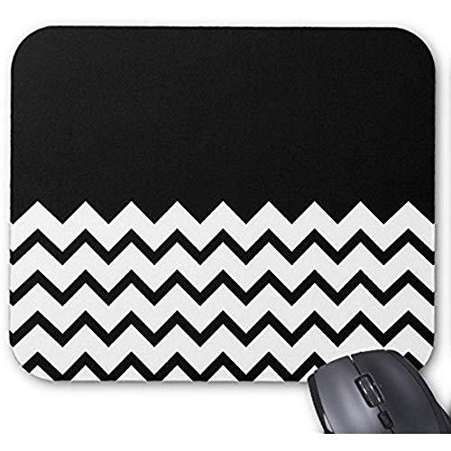 Smity-Mode entwarf Mousepad 30 * 25 * 0,3 cm Büro-und Familien-Tischplattenauflagen Schwarzweiss. Teil Zickzack, Teil Plain Black. Mauspad