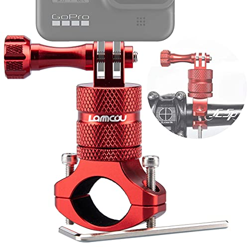Lammcou 2in1 Action Kamera Fahrrad Kamera Halterung, Aluminium Mountainbike Lenkerhalterung Fahrradhalter Kompatibel mit Gopro Hero 9 8 7 6 Session Hero+ 4K Yi Osmo Action Camera Bike Mount, Rot