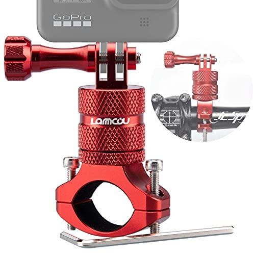 Lammcou Soporte para Bicicleta para Cámara de Acción, Soporte para Manillar de Aluminio Compatible con Hero 9 8 7 6 Session 4K Osmo Actioncam Bike Mount, Rojo