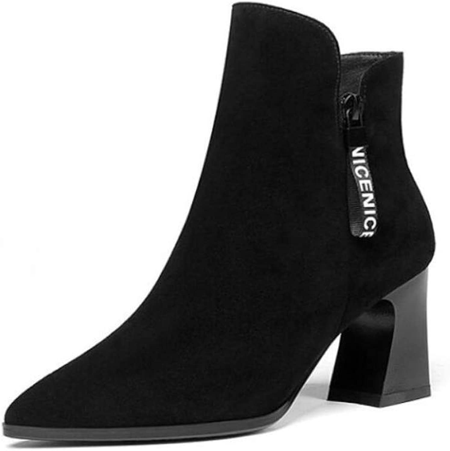 Women's Plus Velvet Boots Matte Leather Thick with Pointed Fashion Simple Solid Short Boots Women's Winter Black Boots