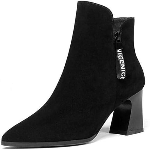 CBDGD Cuir Mat Velours pour Femmes épais avec Bottes Courtes Solides minimalistes élégantes Pointues Bottes d'hiver Noires pour Femmes Talons Hauts (Couleur   noir, Taille   40EU)