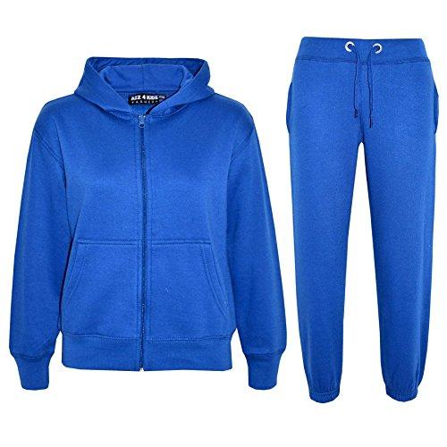 a2z4kids A2Z 4 Kids® Kinder Mädchen Jungen einfarbig Trainingsanzug Kapuzenpullover - Königsblau, 9-10 Jahre
