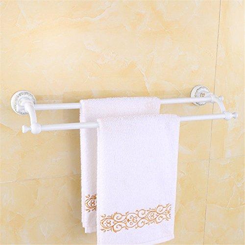 LHbox Tap Le stanze da Bagno Sono montati in Oro Rosa Placcato Oro Bianco Grill Doppia Barra di Asciugamano Asciugamano Bar e Grill Bianco