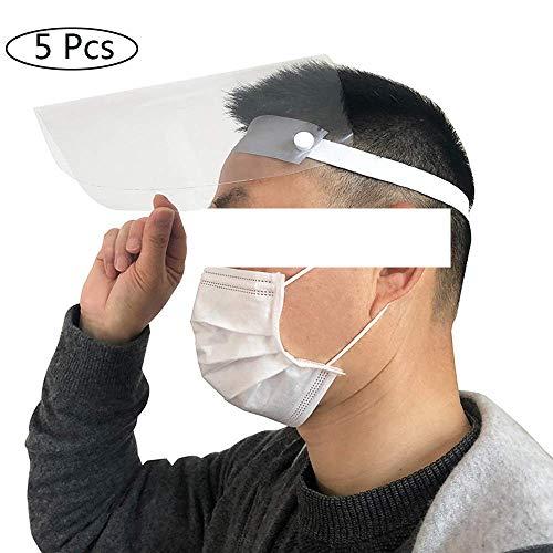 Gesichtsschutzschirm 5 Stück, Visier Anti-Spucke Anti-Fog Anti-Spray Anti-Staub-Schutzmaske Gesichtsschutz Visier für Küche/Camping, Schutzmaske Gesichtsschutz Visier, Augenschutz