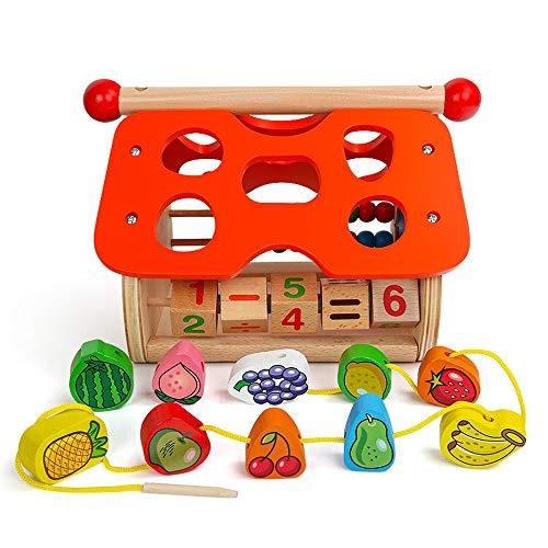 Yifuty Frucht-Form Matching Spielzeug, Weisheit Haus, Kinder 3-6 Jahre alt Puzzle-Spiel, frühe Bildung for Jungen und Mädchen-Geschenke, Form Recognition Abacus Learning Hand-Auge-Koordination Bead