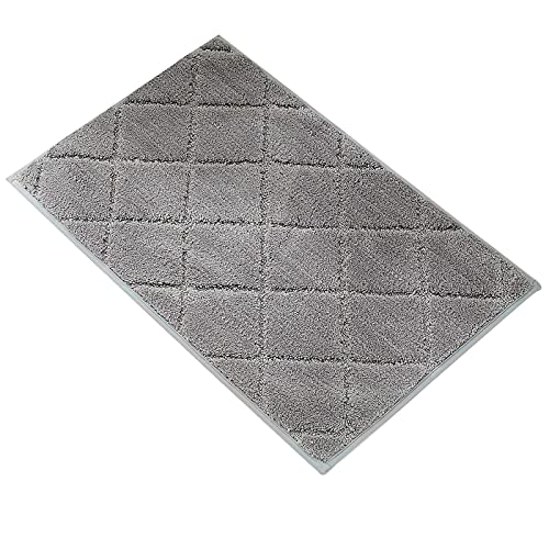 Alfombra de Baño Antideslizante,Alfombrillas Baño Microfibra Chenille Súper Suave Absorbente Tapete de Piso para Ducha,Cocina,Baño (Gris-Microfibra, 45x65cm)