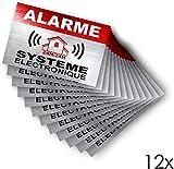Autocollants dissuasifs Alarme - Système électronique Sticker - Lot de 12 Apparence INOX- Taille: 8,5 x 5,5 cm