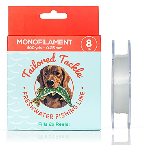 Freshwater Fishing Line Monofilament 8Lb 400Yds Spool Clear Nylon Mono | Multispecies Designed for Bass Walleye Trout Pike Panfish and Inshore Saltwater