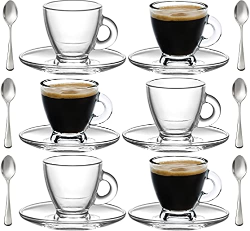 Espresso Cups, 3.2 oz Small Demitasse Clear Glass Espresso Drinkware, Set Of Cups, Saucers and Stainless Steel mini Spoons + Free Glass Spoons (set of 6)