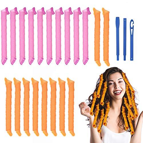URAQT Lockenwickler Große Locken,20pcs DIY Wave Styling Kit Haar Lockenwickler Rollen Hair Curler für Waves Styler mit Styling-haken, 55cm