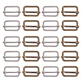 PandaHall Elite 20pcs Fibbia per Diapositive in Metallo Triglides Slides Cintura per Cintura Fibbie Borsa per Borsa Regolatore per Cinturini, Cinghia, Zaino Accessori Fai da Te