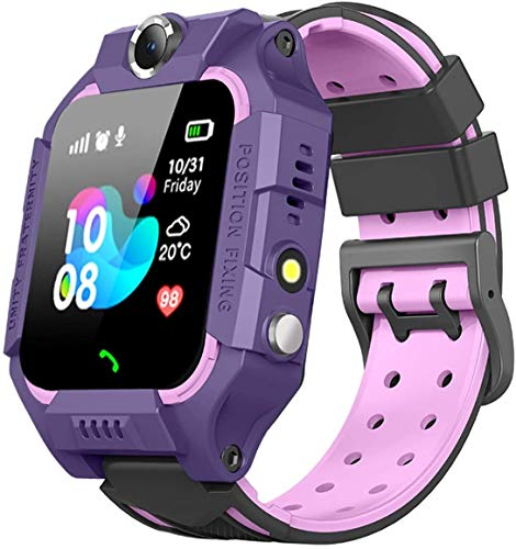 Sanyipace Sport Intelligent HD Spy Safety Phone Smartwatch with GPS Tracker SOS Call Alarm Clock Camera Touch Screen for Birthday, Over 3 Years Old Kids (Purple)
