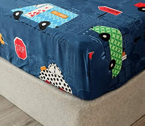 Chickwin Sábana Bajera Ajustable Colchones, 100% Poliéster Suave Cómoda Transpirable Tela - Dibujos Animados Impresión - Elástico en el Borde Bolsillo Profundo 30cm (Carro Azul,90x200x30cm)