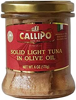 CALLIPO Solid Light Tuna in Olive Oil in a glass Jar - 6 oz (170 g) (Pack of 6)
