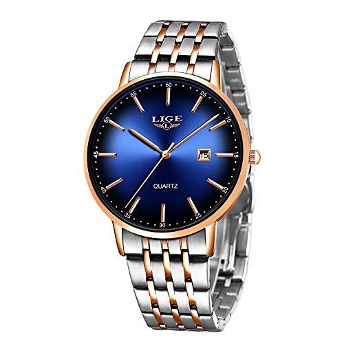 Relojes Hombre LIGE Casual Inoxidable Analógico Relojes Lmpermeable Clásico De para Negocios Hombre Relojes Elegante Moderno Minimalista Relojes Azul Plata