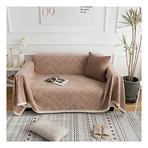 YMTDM Funda de sofá de chenilla, funda de sofá decorativa con borde de encaje, fundas de sofá, protector de muebles, sillón de sofá (marrón, 178 x 122 cm)