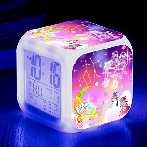 DSGYZQ Doce Constelaciones Color Color Color Cambiando Reloj Despertador de niños con luz LED Luz de Noche Luminoso Dormitorio Luminoso Wake Up Reloj de Alarma Regalo Niño,Gemini