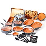Mueller UltraClad Copper Pots and Pans Set, 24-Piece Kitchen Cookware and Bakeware Set, Non-Stick Coating, Aluminum Body, Includes Fry Pans, Dutch Oven, Pancake and Grill Pan, Bakeware Set and More
