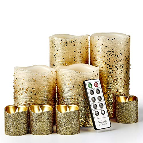 Furora LIGHTING LED Flameless Candles with Remote Control, Set of 8, Real Wax Battery Operated Pillars and Votives LED Candles with Flickering Flame and Timer Featured - Gold Glittery