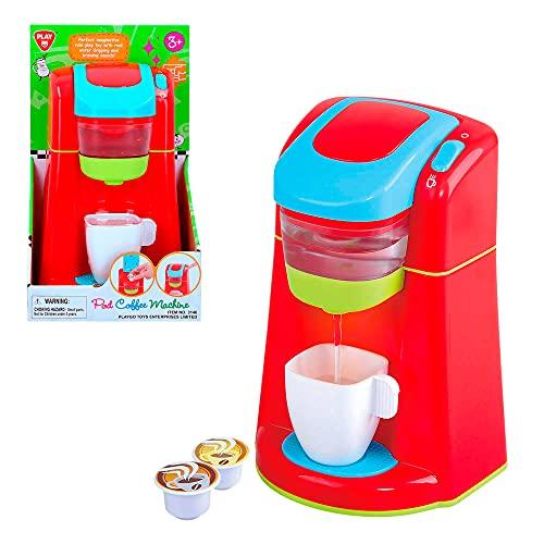 PlayGo - Cafetera juguete, cafetera juguete para niños, cafetera express luz y sonidos reales, electrodomésticos de juguete, cafetera a pilas, juguetes educativos niños 3 años, (46410)