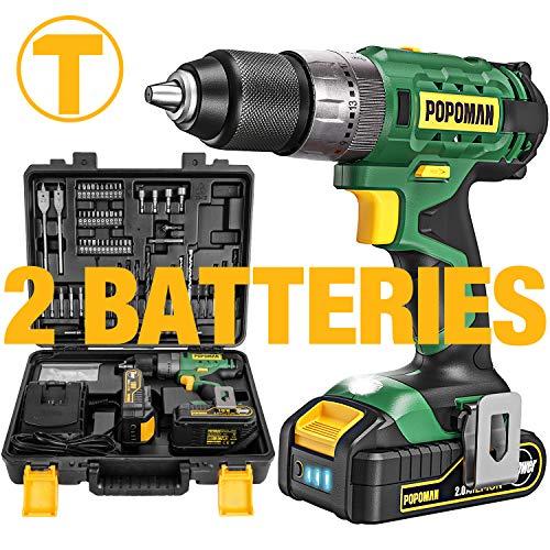 Taladro atornillador con Batería Teccpo Popoman BHD700B de 18 V. Incluye 2 Baterías 2.0 Ah y velocidad rápida / lenta con un par máximo de 45 Nm. Embrague de 21+3 niveles. Portabrocas de 13 mm, cargador rápido y 105 accesorios.