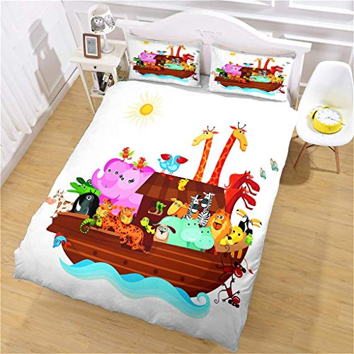 AOJHG Duvet Cover Single Bed, 135X200Cm Microfiber Durable Fade Resistant Fabric - Noah'S Ark Quilt Cover 2 Pillowcases-Soft Hypoallergenic,With Zipper, 3D Printed Quilt Cover