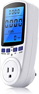 Power Meter Plug, Power Consumption Monitor Electricity Usage Monitor Analyzer Home Energy Consumption Analyzer with Digital LCD Display, Overload Protection and 7 Display Modes for Energy Saving