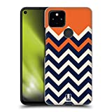 Head Case Designs Orange Colour Block Chevron Hard Back Case and Matching Wallpaper Compatible with Google Pixel 4a 5G
