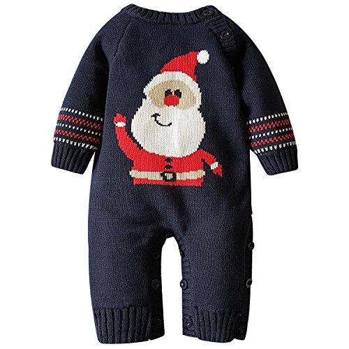 Zoerea Body Neonato Babbo Natale Maglione Pagliaccetto Natale Maglione Inverno per 0-18 Mesi