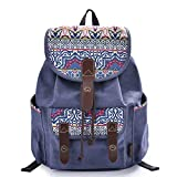 C-LEATHERS Canvas Backpack for Girls Casual Daypack Print Backpack School Backpack 137Blue