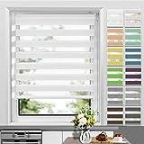 Allesin Store Enrouleur Jour Nuit sans Perçage 50 x 120 cm Blanc, Facile à Installer avec Clips pour Fenêtre ou Porte