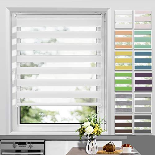 Allesin Doppelrollo Klemmfix ohne Bohren, 70 x 120 cm Weiß, Duo Rollos für Fenster und Tür, Klemmrollo Seitenzugrollo Easyfix, lichtdurchlässig und verdunkelnd, Sichtschutz und Sonnenschutz