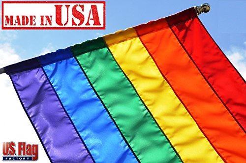 US Flag Factory - 3x5 FT Rainbow Flag (Pole Sleeve, Individually Sewn Stripes) Outdoor SolarMax Nylon - Premium Quality - Made in USA - Gay Pride Lesbian LGBT (3x5 FT (Pole Sleeve))