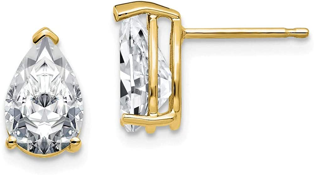 14k Yellow Gold 1.54ct. 7x5mm Pear Moissanite Studs Earrings