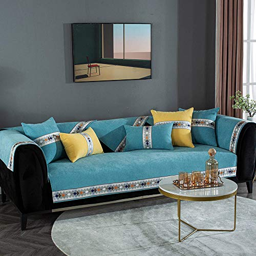 Homeen Protector de sofá de tela de 1/2/3/4 plazas, primavera, verano, otoño e invierno, fundas de cojín antideslizantes para sofá, felpilla de lujo, lago azul (110 x 160 cm)