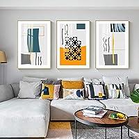 抽象的なポスター幾何学線壁アート現代キャンバスプリントアートワーク絵画写真リビングルーム北欧の家の装飾40X50cmX3フレームレス